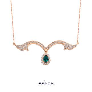 Penta Silver - Çift Kullanımlı Lale Motifli Gümüş Kolye