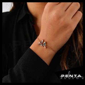 Penta Silver - Çift Kuşlu Asansörlü Gümüş Bileklik