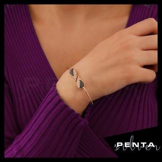 Penta Silver - Çift Melek Kanadı Kelepçe Gümüş Bileklik