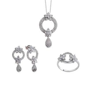 Çift Papatya Gümüş Takı Seti - Thumbnail