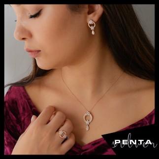 Penta Silver - Çift Papatya Gümüş Takı Seti