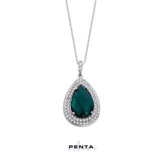 Penta Silver - Çift Sıra Anturaj Damla Gümüş Kolye