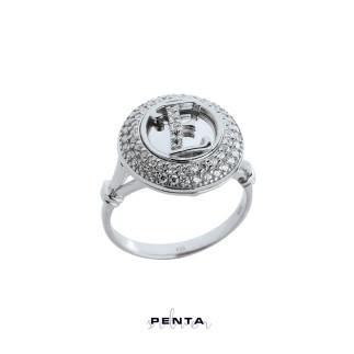 Penta Silver - Çift Sıra Anturaj Dolu Zemin Harfli Gümüş Yüzük