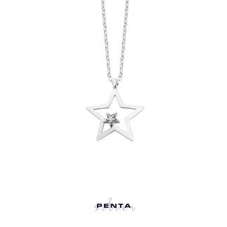 Penta Silver - Çift Yıldız Gümüş Kolye