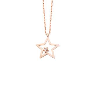 Çift Yıldız Gümüş Kolye - Thumbnail