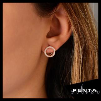 Penta Silver - Çift Yönlü Halka Gümüş Küpe