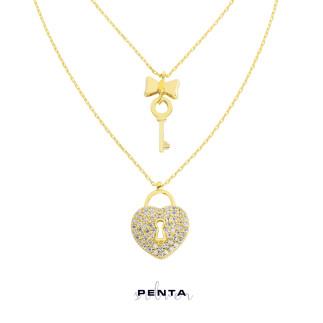 Penta Silver - Çift Zincirli Kalbin Anahtarı Gümüş Kolye