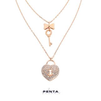 Çift Zincirli Kalbin Anahtarı Gümüş Kolye - Thumbnail