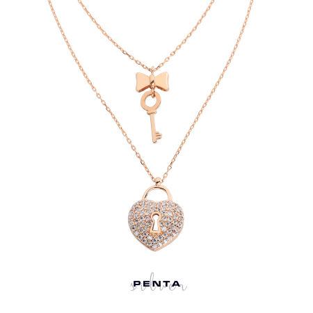 Çift Zincirli Kalbin Anahtarı Gümüş Kolye