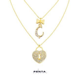Çift Zincirli Kalp Anahtarı Harfli Gümüş Kolye - Thumbnail