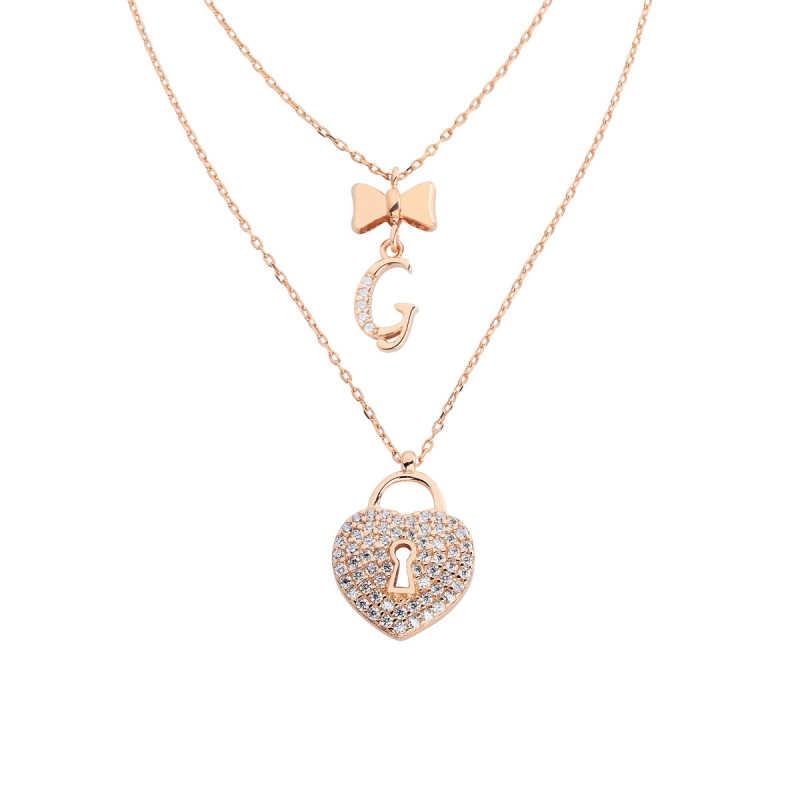 Çift Zincirli Kalp Anahtarı Harfli Gümüş Kolye