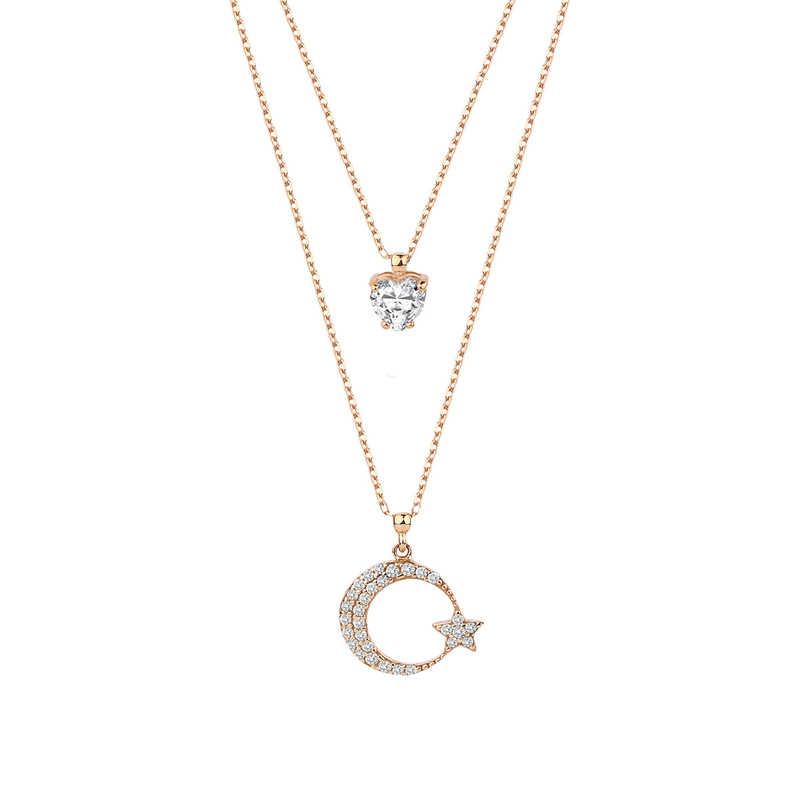 Çift Zincirli Kalp Taşlı Ay Yıldız Gümüş Kolye