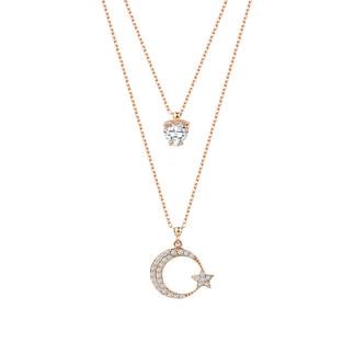Çift Zincirli Kalp Taşlı Ay Yıldız Gümüş Kolye - Thumbnail