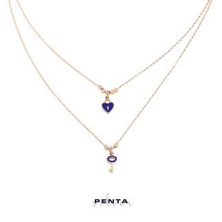 Penta Silver - Çift Zincirli Kalpli Anahtar Gümüş Kolye