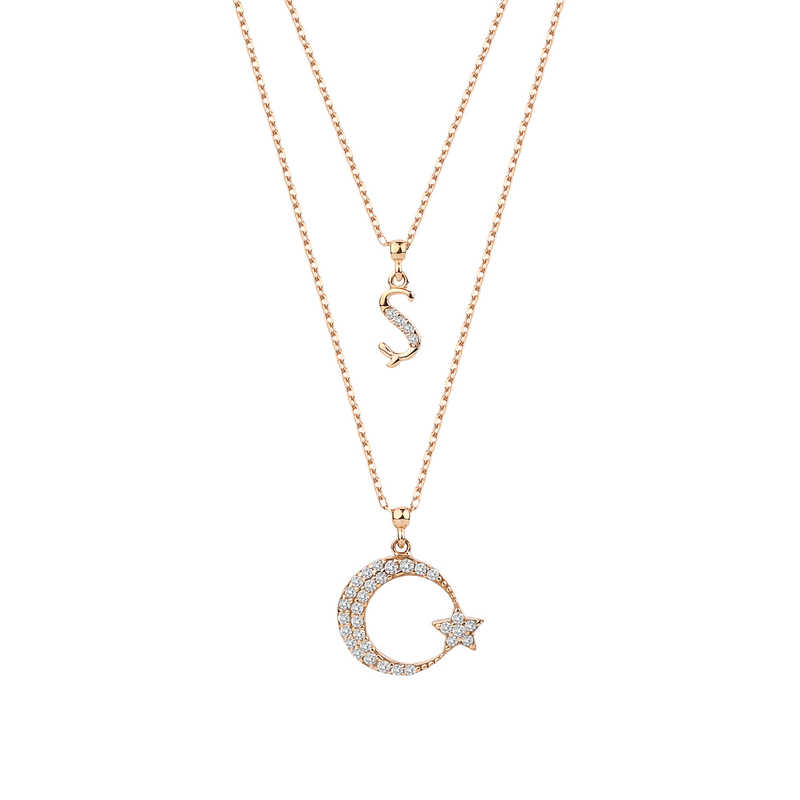 Çift Zinczirli Harfli Ay Yıldız Gümüş Kolye