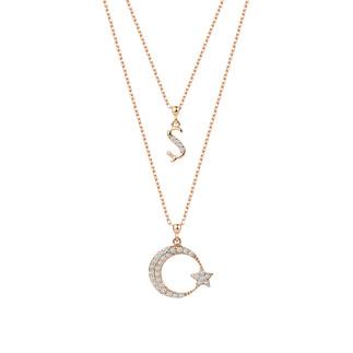 Çift Zinczirli Harfli Ay Yıldız Gümüş Kolye - Thumbnail