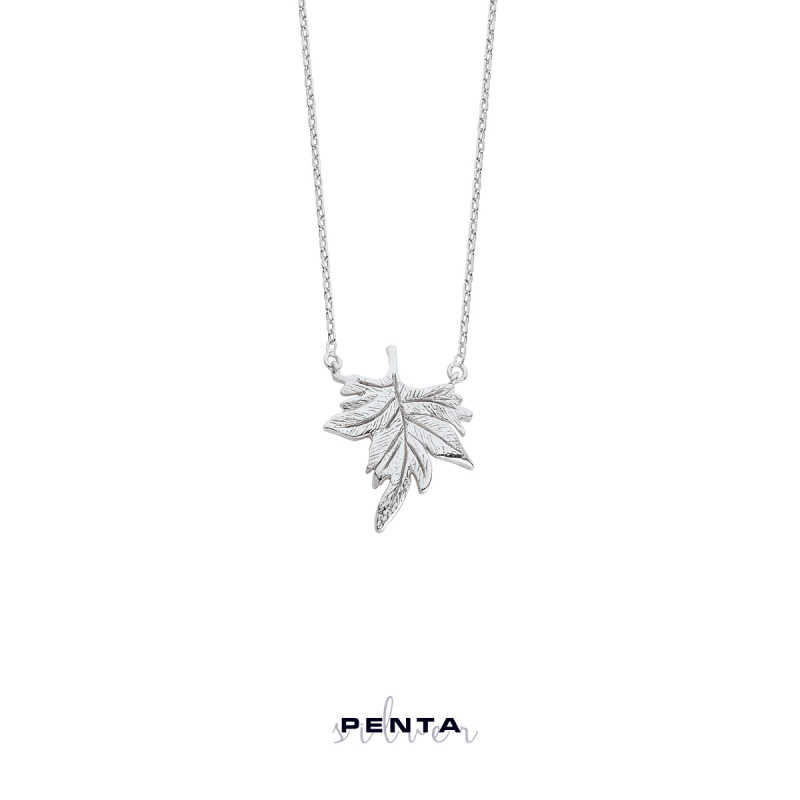 Çınar Yaprağı Gümüş Kolye