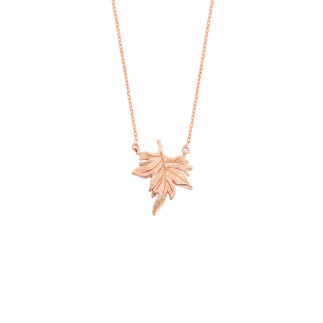 Çınar Yaprağı Gümüş Kolye - Thumbnail