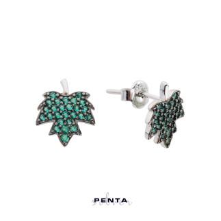 Penta Silver - Çınar Yaprağı Gümüş Küpe