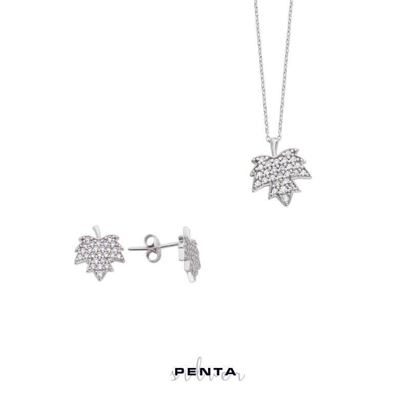 Çınar Yaprağı Gümüş Takı Seti