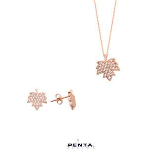 Çınar Yaprağı Gümüş Takı Seti - Thumbnail