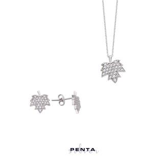 Penta Silver - Çınar Yaprağı Gümüş Takı Seti