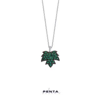 Penta Silver - Çınar Yaprağı Taşlı Gümüş Kolye