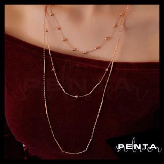 Penta Silver - Çubuk Uzun Zincir Gümüş Kolye (1)
