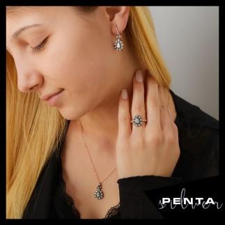 Penta Silver - Damla Çiçek Elmas Montür Gümüş Takı Seti