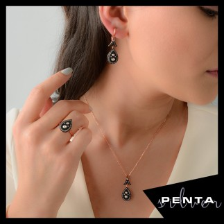 Penta Silver - Damla Elmas Montür Gümüş Takı Seti