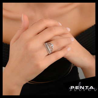 Penta Silver - Damla Motifli Prenses Tacı Gümüş Yüzük