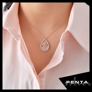 Penta Silver - Damla Sedef Hayat Ağacı Gümüş Kolye (1)