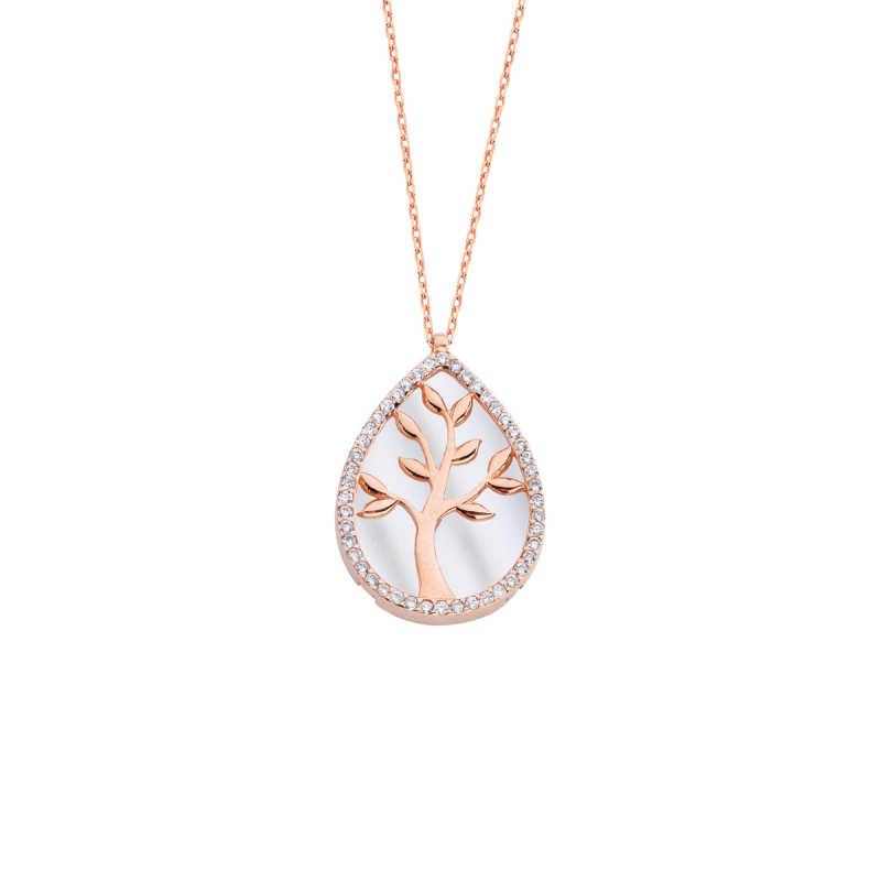 Damla Sedef Hayat Ağacı Gümüş Kolye