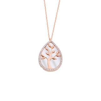 Damla Sedef Hayat Ağacı Gümüş Kolye - Thumbnail