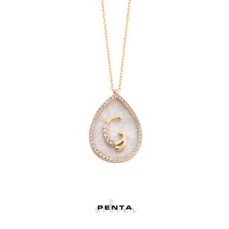 Penta Silver - Damla Sedefli Harfli Gümüş Kolye (1)