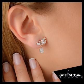 Penta Silver - Damla Taşlı Çiçek Gümüş Küpe