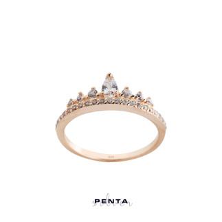 Damla Taşlı İnce Prenses Tacı Gümüş Yüzük - Thumbnail