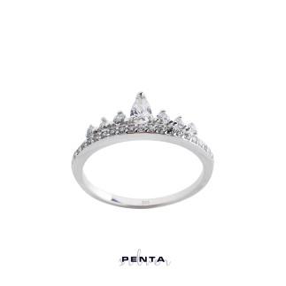 Penta Silver - Damla Taşlı İnce Prenses Tacı Gümüş Yüzük