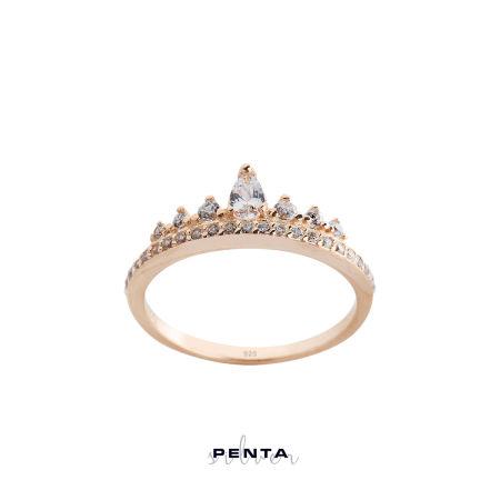 Damla Taşlı İnce Prenses Tacı Gümüş Yüzük