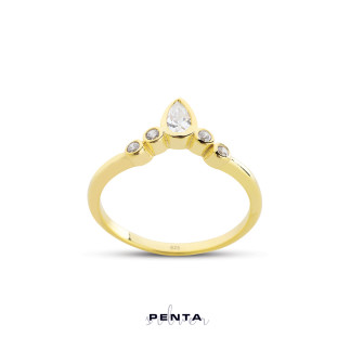 Penta Silver - Damla Taşlı Sıvama Gümüş Yüzük