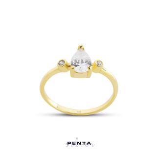 Penta Silver - Damla Taşlı Stil Gümüş Yüzük