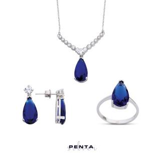 Penta Silver - Damla Taşlı Su Yolu Gümüş Takı Seti