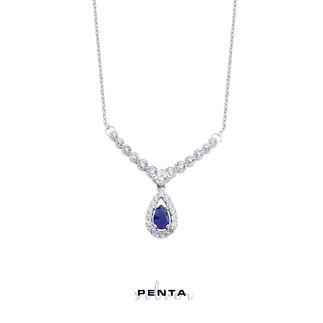 Penta Silver - Damla Taşlı V Montür Gümüş Kolye
