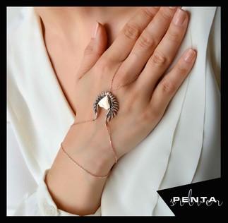 Penta Silver - Dolgu Kalpli Melek Kanadı Gümüş Şahmeran Bileklik (1)