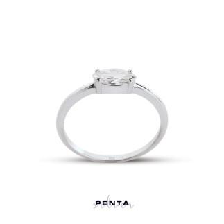 Penta Silver - Dört Tırnak Markiz Gümüş Yüzük