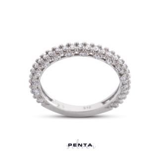 Penta Silver - Dört Tırnak Pırlanta Montür Alyans Gümüş Yüzük