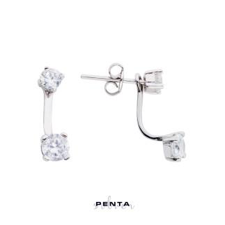 Penta Silver - Dört Tırnak Tektaş Piercing Gümüş Küpe (1)