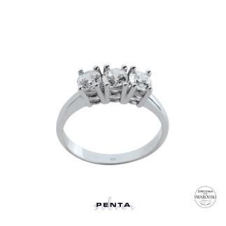 Penta Silver - Dört Tırnak Swarovski Tria Gümüş Yüzük