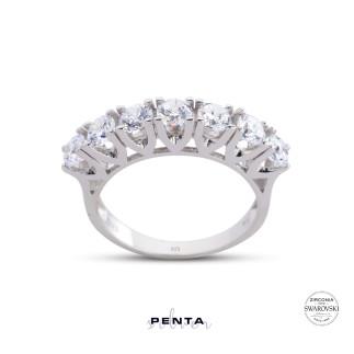 Penta Silver - Dört Tırnak V Montür Swarovski Yeditaş Gümüş Yüzük