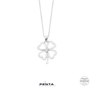 Penta Silver - Dört Yaprak Yonca Swarovski Taşlı Gümüş Kolye